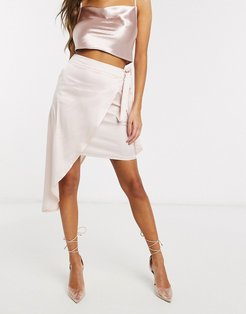 Club L assymmetric wrap satin skirt-Gold