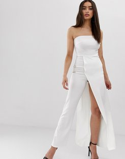 Club L bandeau jumpsuit with chain detail and thigh split-White