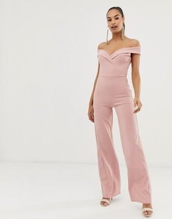 Club L bardot detail jumpsuit-Pink