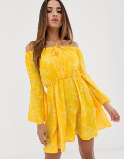 Club L bardot plunge dress with flute sleeve-Yellow