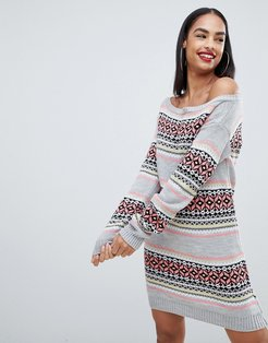 Club L christmas off the shoulder sweater dress with all over intarsia fairsle print-Gray