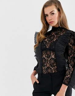 Club L lace frill detail bodysuit-Black
