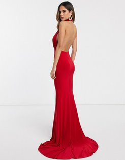 backless halterneck fishtail maxi dress-Red
