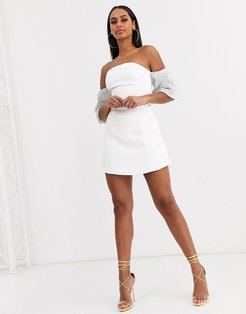 bandeau dress with sequin balloon sleeve detail in white