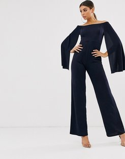 bardot flared sleeve jumpsuit-Navy