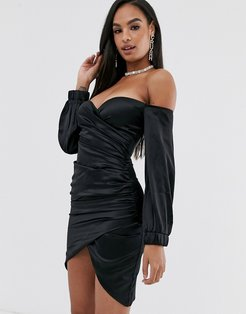 bardot satin ruched mini dress in black