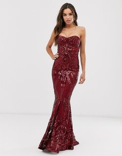 baroque bandeau sequin maxi dress-Red