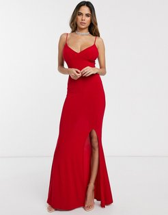 cami strap maxi dress with thigh split-Red