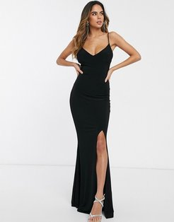cami strap maxi dress with thigh split-Black