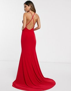 cross back fishtail maxi dress-Red