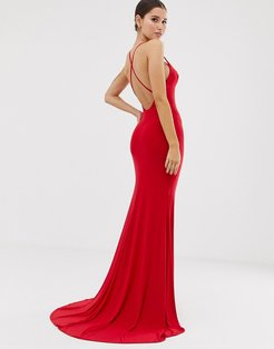 cross back fishtail maxi in red