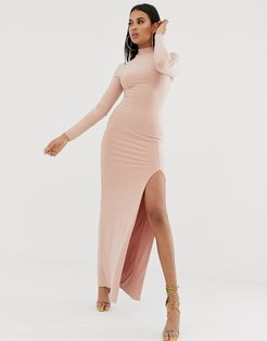 high neck long sleeve maxi dress with high thigh split in pink