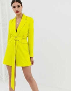 longline blazer dress with buckle detail in lime-Gray