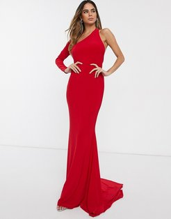 one shoulder fishtail maxi dress-Red
