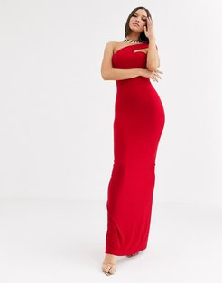 one strap shoulder maxi dress in red