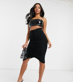 ruched midi skirt in black