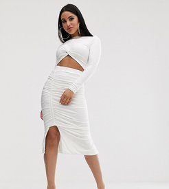 ruched midi skirt in white