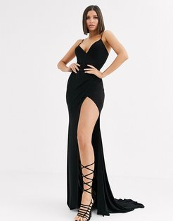 plunge front maxi dress with high thigh split in black