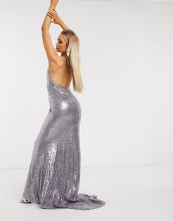 sequin deep plunge fishtail maxi dress in silver gray-Purple