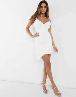 wrap asymmetric cami mini dress-White