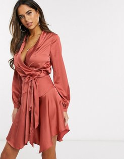 Club L midi satin wrap dress-Orange