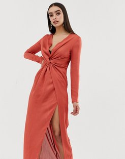 Club L satin detail knot maxi dress-Red