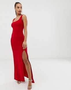 Club L square neck detail slinky maxi dress-Red