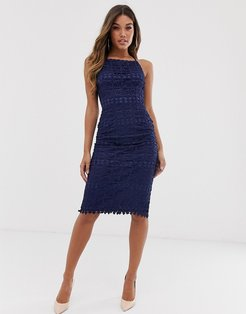Club L square neck lace dress with cut out back-Navy