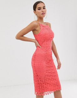 Club L square neck lace dress with cut out back-Pink