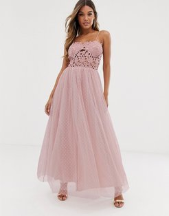 Club L tulle skirt maxi dress with lace bodice-Pink