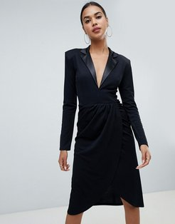 Club L tuxedo wrap midi dress-Black