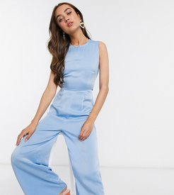 tie back jumpsuit in blue