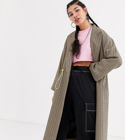 check trench coat with drawcord detail-Stone