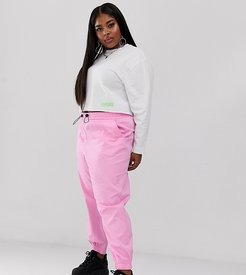 Plus cuffed cargo pants-Pink