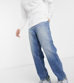 skater jeans in washed blue