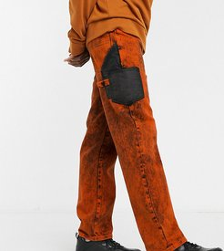straight leg jeans in washed orange-Red