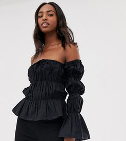 Tall ruched tie front off the shoulder top-Black