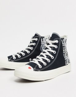 Chuck Taylor All Star Hi Love Fearlessly Heart Sneakers-Black