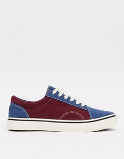 Cotton On axell lace up sneakers in navy mix-Multi