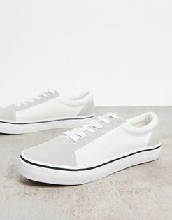 Cotton On axell lace up sneakers in white/gray