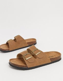 Cotton On double buckle flat sandals in brown