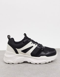 Cotton On oskar chunky sole sneakers in black/white
