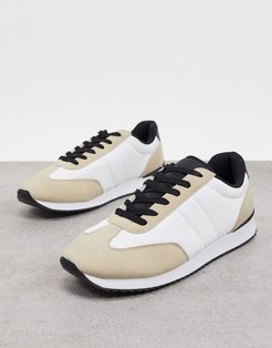 Cotton On ryan retro sneakers in sand/black-Multi