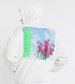 oversized hoodie in white with photo floral print