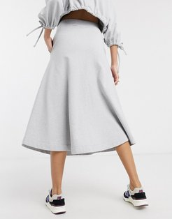organic cotton extreme a line skirt two-piece-Gray