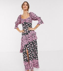 milkmaid maxi in grunge floral animal mix-Multi