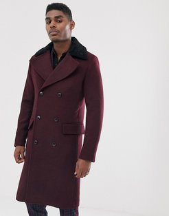 premium wool blend oversized double breasted faux fur collar over coat-Purple