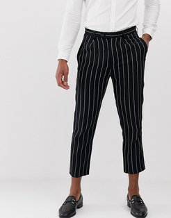 slim fit linen pinstripe pleated cropped pants-Navy