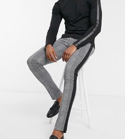Tall skinny black and white check side stripe pants