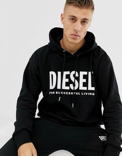 S-Division large logo hoodie in black